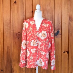 Karl Lagerfeld Paris Med Floral Button up Blouse